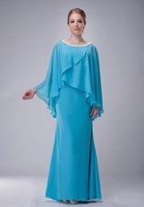 Aqua Blue Scoop Beaded Mother of The Bride Dress