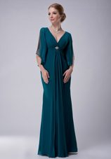 Chiffon Beaded Turquoise Mother of The Bride Dress