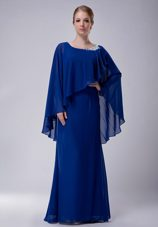 Scoop Mother of The Bride Dress Blue with Appliques