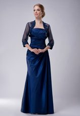 Navy Blue Strapless Mother Of Bride Dress with Appliques