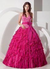 2013 Hot Pink Halter Floor-length Embroidery Quinceanera Dress