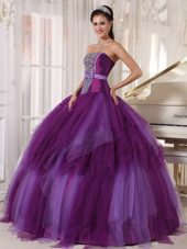 2013 Purple Strapless Floor-length Beading Quinceanera Dress
