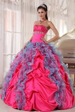 2013 Hot Pink and Aqua Blue Strapless Beading and Ruffles Quinceanera Dress