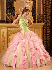 Multi-Color Ball Gown One Shoulde Ruffles Quinceanera Dress