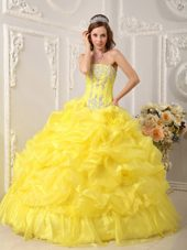 Yellow Strapless Quinceanera Dress Beading Ruffle 2013