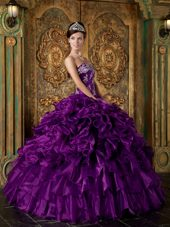 Purple Strapless Ruffle Quinceanera Dress 2013 Applique