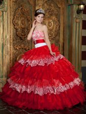 Red and Zebra Strapless Quinceanera Dress Floor-length Ruffle