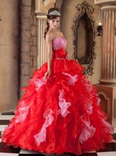Red Quinceanera Dress Strapless Floor-length Beading Ruffle