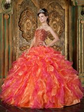 Ball Gown Strapless Beading and Ruffle 2013 Quinceanera Dress