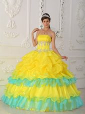 Yellow Quinceanera Dress Strapless 2013 Beading and Ruffle