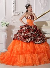 2013 Orange Sweetheart Brush Train Leopard Quinceanera Dress