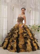 Ruffled Ball Gown 2013 Quinceanera Dress Sweetheart Leopard Beading