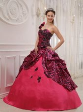 Hot Pink One Shoulder 2013 Zebra Applique Quinceanera Dress