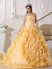 Gold Strapless Chapel Train Beading Quinceanera Dress 2013