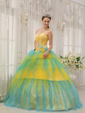 Yellow And Blue A line Quinceanera Dress On sale