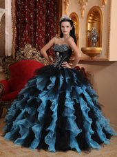 2013 Hot sale Blue And Black Organza Sweetheart Quinceanera