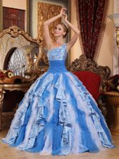One Shoulder Blue And White Quinceanera Ball Gown