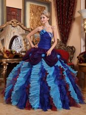 Navy Blue And Burgundy Strapless Floor Length Quinceanera