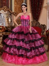 Pink And Purple Organza Sweetheart Quinceanera Dress