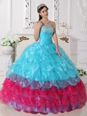 Aqua Blue And Hot Pink Strapless Quinceanera Gown