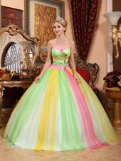 2013 Rainbow Sweetheart Beading Quinceanera Dress