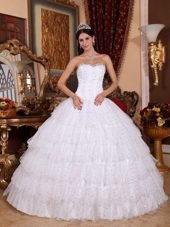 Sweetheart Beaded White Organza Quinceanera Dress With Multi Layers