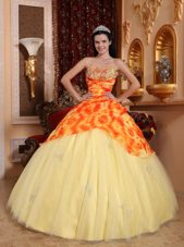 New Style Orange And Yellow Printed Tulle Quinceanera Dress