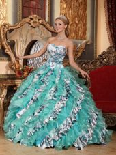 Turquoise Printed Sweetheart Quinceanera With Exquisite Skirt