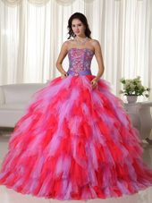Ruffles Multi-color Embroidery Strapless Ball Gown Quinceanera