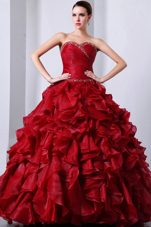 Sweetheart Beading Red Ruffle Ball Gown Quinceanera Dress