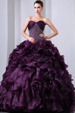Sweetheart Dark Purple Beading Ruffle Quinceanera With Brush Train