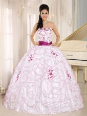 Strapless Embroidery White Organza Quinceanera Dress