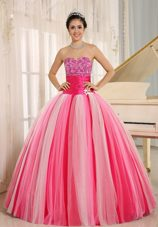 Multi-color Quincanera Dress with Strapless Tulle Sashed