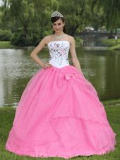 Rose Pink Strapless Embroidery Quinceanera Gown with Bow