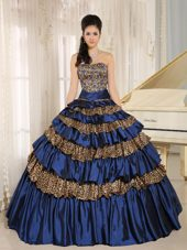 Leopard Ruffles Quinceanera Gown with Appliques Beaded