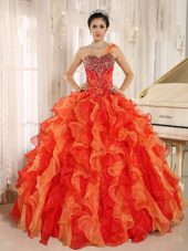 Orange Red One Shoulder Quinceanera Dress with Beads