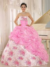 Rose Pink Sweetheart Beaded Printing Quinceanera Dress