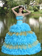 Sequins Strapless Organza Layered Aqua Quinceaneara Gown