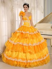 Yellow One Shoulder Ruffled Hand Flower Quinceanera Dress