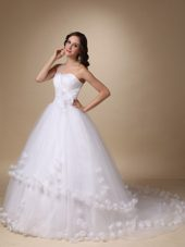 One Shoulder Tulle Wedding Dress Chapel Train