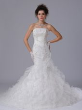 Organza Mermaid Strapless Court Train bridal Wedding Dress