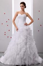 2013 Sweet Sweetheart Ruffles Wedding Dress Ruched Bodice