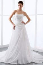 Sweetheart Wedding Dress Gown Pretty Appliques Ruch 2013