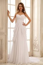 Column Beach Ruched Chiffon Wedding Dress Sweetheart