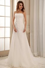 2013 Strapless Column Weding Dress Ruch Appliques Organza
