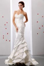Mermaid Sweetheart Ruch Appliques Weding Dress Taffeta