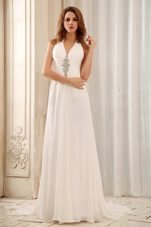 2013 Empire Beaded Decorate Halter Weding Dress Chiffon