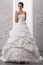 A-line Pick-ups 2013 Sweetheart Wedding Gowns Lace Ruch