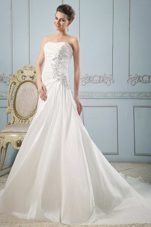Strapless 2013 Wedding Dress Gown Appliques Ruch