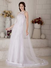 Designer Beaded High-neck Wedding Dress Tulle Covered